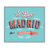 Vintage Greeting Card From Madrid - Spain ポスター :  MiloArt