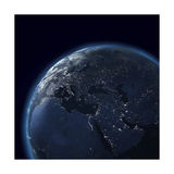 Night Globe With City Lights, Detailed Map Of Asia, Europe, Africa, Arabia Posters by  Mike_Kiev