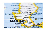 Close Up Of Manila On Map, Philippines Prints by  mtkang