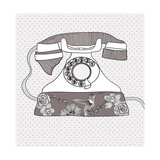 Background With Retro Telephone Prints by cherry blossom girl