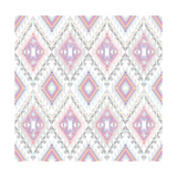 Abstract Geometric Seamless Aztec Pattern. Colorful Ikat Style Pattern Premium Giclee Print by cherry blossom girl