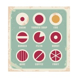 Retro Set Of Food Pictogram, Icons And Symbols Art by  Lukeruk