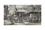 Old Illustration Of Butcher'S Shop In Frankfurt Print by  marzolino