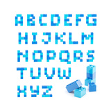 Alphabet Set Made Of Toy Blocks Isolated Prints by  nbvf
