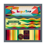 Hipster Horizontal Banners In Retro Style Prints by  incomible