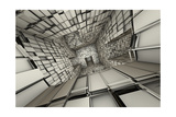 3D Futuristic Fragmented Tiled Mosaic Labyrinth Interior Prints by  johnson13