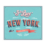 Vintage Greeting Card From New York - Usa Prints by  MiloArt