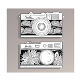 Retro Photo Cameras Set. Vintage Cameras With Flowers Premium Giclee Print by cherry blossom girl
