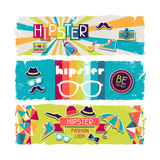 Hipster Horizontal Banners In Retro Style Poster by  incomible