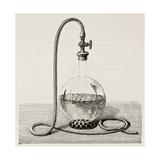 Old Illustration Of Laboratory Equipment For Water Boiling Under Vacuum Giclee-tryk i høj kvalitet af  marzolino