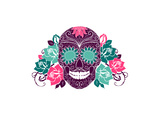Skull And Roses, Colorful Day Of The Dead Card Print by Alisa Foytik