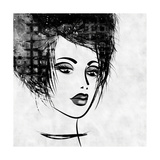 Art Colorful Sketched Beautiful Girl Face In Profile With Black Hair On White Background Prints by Irina QQQ