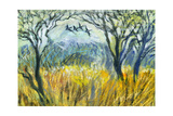 Edge Of Wood With Flying Birds And Wheat Field Poster by  balaikin2009