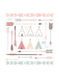Teepee Tents And Arrows Collection - Hipster Style Art par Alisa Foytik