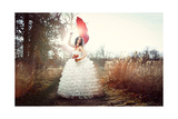 Young Beautiful Bride In White Dress Holding Red Roses Prints by  Yaro