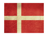 Grunge Sovereign State Flag Of Country Of Denmark In Official Colors Prints by  Speedfighter