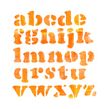 Textured Orange Watercolor Alphabet, Isolated Prints by  donatas1205