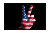 America National Flag Two Finger Up Gesture For Victory And Winner Symbol Made With Hand Poster by  vepar5