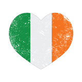Ireland Heart Retro Flag - St Patricks Day Premium Giclee Print by  RedKoala