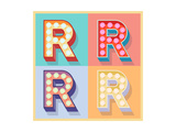 dgbomb - Simple And Clear Flat Lamp Alphabet - Letter R - Reprodüksiyon