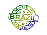 Made In Brazil Stamp Shows Brazilian Product Or Produce Posters by  stuartmiles