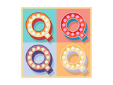 Simple And Clear Flat Lamp Alphabet - Letter Q Posters by  dgbomb