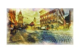 Streets Of Old Prague Made In Artistic Watercolor Style Prints by Timofeeva Maria