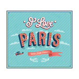 Vintage Greeting Card From Paris - France Poster by  MiloArt