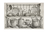 Old Illustration Of Bronze Pottery And Kitchen Utensils Found In Pompeii Prints by  marzolino