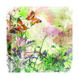 Vintage Background In Painting Style With Butterflies Prints by  Maugli-l