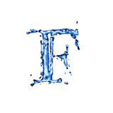 Blue Liquid Water Alphabet With Splashes And Drops - Letter F Prints by  -Vladimir-