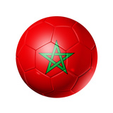 Soccer Football Ball With Morocco Flag Affiches par  daboost