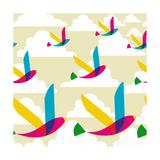 Transparent Multicolored Birds Pattern Affiches par  cienpies