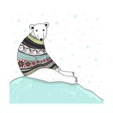 Christmas Card With Cute Polar Bear. Bear With Fair Isle Style Sweater Prints by cherry blossom girl