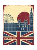 London Landmark.Vintage Background With England Flag On Old Poster Poster par  GeraKTV
