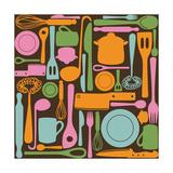 kytalpa - Kitchen Utensils - Seamless Pattern Plakát