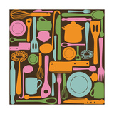 Kitchen Utensils - Seamless Pattern Posters by  kytalpa