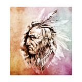 Sketch Of Tattoo Art, American Indian Chief Illustration Over Colorful Paper Poster by  outsiderzone