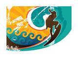 Artistic Retro Surfing Poster Print by  Rashomon