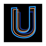 Glowing Letter U Isolated On Black Background Print by Andriy Zholudyev