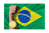 Gold Medal For Sport And National Flag Of Brazil Art by  vepar5