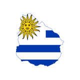 Illustration Of The Uruguay Flag On Map Of Country; Isolated On White Background Posters by  Speedfighter