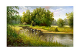 Summer Wood Lake With Trees And Bushes Posters by  balaikin2009