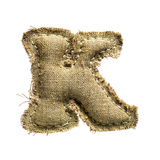 Linen Vintage Cloth Letter K Isolated On White Print by  smaglov