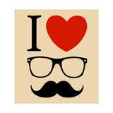 Print I Love Hipster Glasses And Mustaches Prints by  mvasya