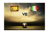 Friendly Soccer Match Between Spain And Italia Poster by  yuran-78