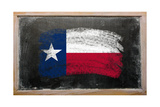 Flag Of Us State Of Texas On Blackboard Painted With Chalk Poster by  vepar5
