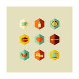 Coffee Elements Flat Icons Prints by  cienpies