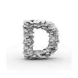 Letter D, Stacked From Paper Sheets Print by  iunewind