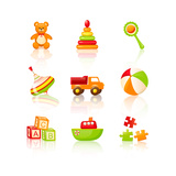 Colourful Children'S Toys Icons Posters by  Rainledy
